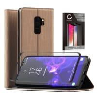 Etui + Protection d'écran en verre pour Samsung Galaxy S9 Plus (SM-G965) - Cuir PU, d'or Etui,Housse, Coque, Pochette