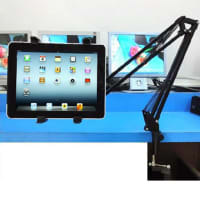 360 degree Tablet Table bracket for iPad / iPad mini / iPad Air, Galaxy, Mediapad, aluminum, black - Universal holder, Gooseneck, Swivel Arm