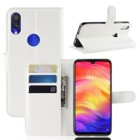 Carcasa para Xiaomi Redmi Note 7 Global - Cuero PU, blanco Funda