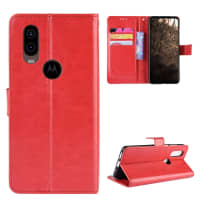 Case for Motorola One Vision - PU Leather, Red Case