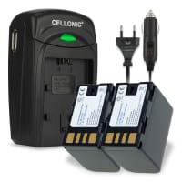 2x Batteri til JVC GY-HM70e GY-HM180e GY-HM100 -HM180u GZ-MG330 -MG130 -MG630 GZ-HD7 GZ-MS120 -MS100 GS-TD1 - BN-VF808 BN-VF815 BN-VF823 2250mAh + Oplader Udskiftsningsbatteri