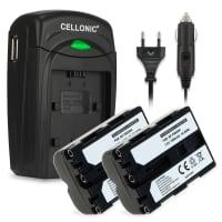 2x Batterie NP-FM500H incl. Chargeur BC-VM10 pour Sony SLT-A58 SLT-A77 SLT-A65 SLT-A57 ILCA-77M2 SLT-A99 DSLR-A200, A68, A77 II - NP-FM500H (1400mAh) Batterie de remplacement
