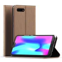 Flip Case for Huawei Honor 10 - PU Leather, Golden Case