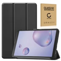 Case + Screen protector glass for Samsung SM-T307 Galaxy Tab A 8.4 (2020) - synthetic Leather, Black Case