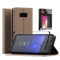 Flipcase + Displaybeschermglas voor Samsung Galaxy S8 Plus (SM-G955 / SM-G955F) - PU Leather, gouden Tasje, Zakje, Zak, Hoesje