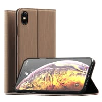 Flipcase Apple iPhone Xs Max Book Case Portemonnee Hoesje Flip Hoesje Book Cover Flip Wallet Flip Armor Gouden