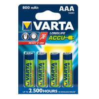 Accus Batteries AAA  Varta Long Life Accu Varta 56703 (800mAh) 4x