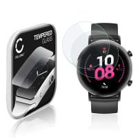 2x Panzerglas Huawei Watch GT 2 (42mm) (2.5D, 9H, 0,33mm, Full Glue) Displayschutz Tempered Glass