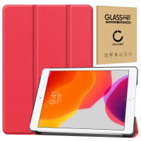 Case + Screen protector glass for Apple iPad 10.2 2019 (7th Gen) - synthetic Leather, Red Case