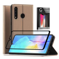 Case + Screen protector glass for Huawei P30 Lite - PU Leather, Golden Case