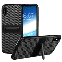 Tapa trasera para Apple iPhone X (CARBON-Style) - TPU, negro Funda