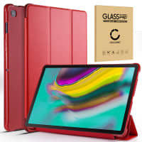 Case + Screen protector glass for Samsung Galaxy Tab S5e 2019 (SM-T720 / SM-T725) - synthetic Leather, Red Case
