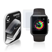 2x Panzerglas Apple Watch 1 / 2 / 3 - 38mm (2.5D, 9H, 0,33mm, Full Glue) Displayschutz Tempered Glass