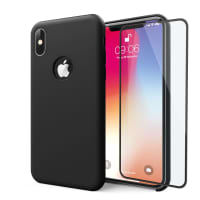 Case + Screen protector for iPhone X - Silicone, Black Case