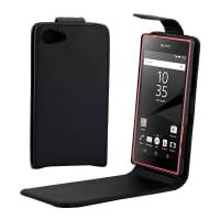 Flip Cover para Sony Xperia Z5 Compact - Cuero artificial, negro Funda