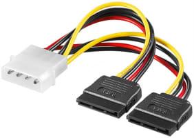 PC Y Stromkabel/Stromadapter - 1x Molex Stecker zu 2x SATA Stecker