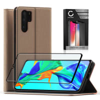Case + Screen protector for Huawei P30 Pro - PU Leather, Golden Case