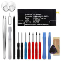Battery for LG X Cam - BL-T23 (2500mAh) + Tool-kit, Replacement battery