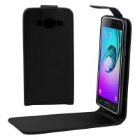 Custodia con sportellino per Samsung Galaxy J3 Duos (SM-J320) - Similpelle, nero Custodia Borsa Guscio