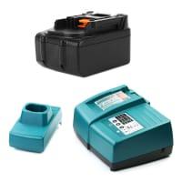 Batteri 18V, 3Ah, Li-Ion + Ladere for Makita BSS610Z, DCL182Z, DHP453, DUR181Z - BL1830, BL1840, BL1850, BL1850B, BL1860B reservebatteri