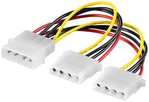 PC Y Stromkabel/Stromadapter - 1x Molex Stecker zu 2x Molex Buchse