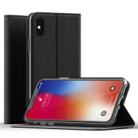 Case iPhone X PU Leather Black Case Cover Wallet Case Flip Case Phone Cover Shockproof Flip Cover