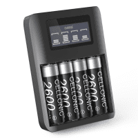 CELLONIC® USB Battery Charger for AA and AAA Batteries with 4 Charging Bays and display, Batterycharger + 4x AA rechargeable Batteries 2600mAh
