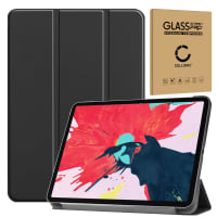 Smart Case + Screen protector glass for Apple iPad 11 (2020) - A2228, A2231 - synthetic Leather, Black Case