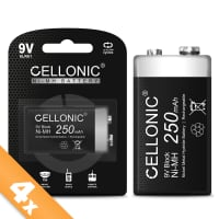 Cellonic® 9V Battery - 250mAh - pre-charged and long life - 4x 9V / E Block / 6F22 / 6LR61 / AM-61 NiMH 1.2V Cellonic