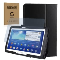 Smart Case + Screen protector glass for Samsung Galaxy Tab 3 10.1 (P5200 / P5210 / P5220) - Artificial leather, Black Case