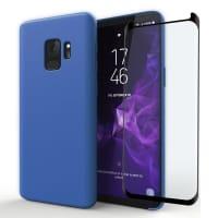 Coque + Protection d'écran en verre pour Samsung Galaxy S9 (SM-G960) - Silicone, bleu foncé Etui,Housse, Coque, Pochette