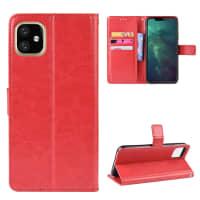 Cover til iPhone XI - PU Læder, rød lomme, pocket, shell, skallen