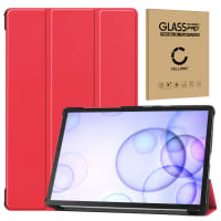 Case + Screen protector glass for Samsung Galaxy Tab S6 (SM-T860 / SM-T865) - synthetic Leather, Red Case