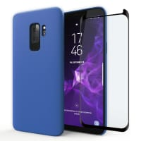 Coque + Protection d'écran en verre pour Samsung Galaxy S9 Plus (SM-G965) - Silicone, bleu foncé Etui,Housse, Coque, Pochette