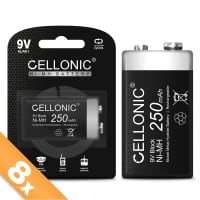 Cellonic® 9V Battery - 250mAh - pre-charged and long life - 8x 9V / E Block / 6F22 / 6LR61 / AM-61 NiMH 1.2V Cellonic