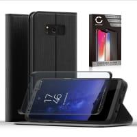Flipcase + Displaybeschermglas voor Samsung Galaxy S8 (SM-G950 / SM-G950F) - PU Leather, zwart Tasje, Zakje, Zak, Hoesje