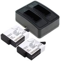 2x Batterie incl. Chargeur Double pour GoPro Hero 5, GoPro Hero 5 Black, GoPro Hero 6 Black - AHDBT-501 (1250mAh) Batterie de remplacement