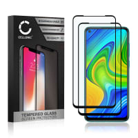 2x Screen protector glass Xiaomi Redmi Note 9 (3D Case-friendly, 9H, 0,33mm, Full Glue) Tempered Glass