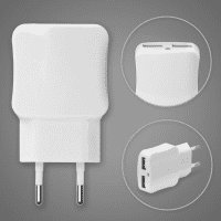 Smart Dual USB Charger 2 port for smartphone, eReader Tablet & Co. (2x 2.1A max.) USB charging adapter
