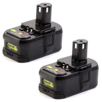 2x Battery 18V, 3Ah, Li-Ion for Ryobi R18AG-0, RCD1802M, RCD18022L, RRS1801M, OGS1821, OPP1820 / RB18L40 - RB18L13, RB18L15, RB18L25, RB18L40 replacement battery