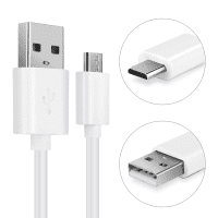USB Cable for Medion LifeTab P10602 / X10605 / S10366 / S10334 / X10311 / X10302 / P8912 / P10505 / P10400 - Charging Cable 1m Data Cord 2A White PVC Wire Lead