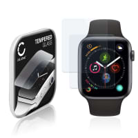 2x Panzerglas Apple Watch 4 / 5 - 44mm (2.5D, 9H, 0,33mm, Full Glue) Displayschutz Tempered Glass