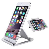 Support (aluminium) pour téléphones mobiles, tablettes & eReader - pliable, 2 angle de vue