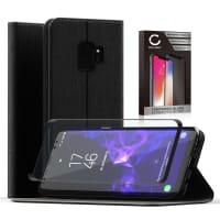 Cover a libro + Vetro protettivo di schermo per Samsung Galaxy S9 (SM-G960) - Similpelle, nero Custodia, Borsa, Guscio