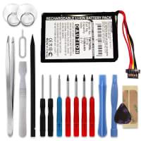 Batterie pour TomTom GO 740 Live GO 740TM GO 750 GO 750 Live GO 750 Traffic 4CP0.002.06 - AHL03711012 HM9440232488 VF1A (1100mAh) + Set de micro vissage Batterie Rechange