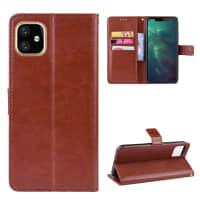Cover til iPhone XI - PU Læder, brun lomme, pocket, shell, skallen