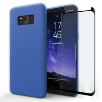 Cover a libro + Vetro protettivo di schermo per Samsung Galaxy S8 (SM-G950 / SM-G950F) - Silicone, blu scuro Custodia, Borsa, Guscio
