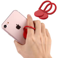 2x Finger-ring holder for smartphones, red