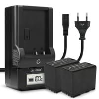 2x Batterie pour appareil photo Canon EOS C100 C300 XF100 XF200 XF205 XF300 XF305 CP910 XH-A1 XL-H1 XM2 - BP-975 BP-955 BP-925 BP-970 7800mAh + Chargeur Batterie Remplacement