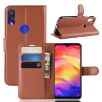 Carcasa para Xiaomi Redmi Note 7 Global - Cuero PU, marrón Funda